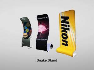 ฺBannerผ้า Snake-Banner Banner-stand Billion-Fabric- Display Backdropพิมพ์ด้วยผ้า แบคดรอปผ้า Fabric-Backdrop Backdrop แบบผ้า Backdropผ้าพิมพ์ บูธผ้า อุปกรณ์จัดบูธพิมพ์ด้วยผ้า